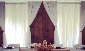 Barn Wood Panel Backdrops with sheer for a stunning rustic look