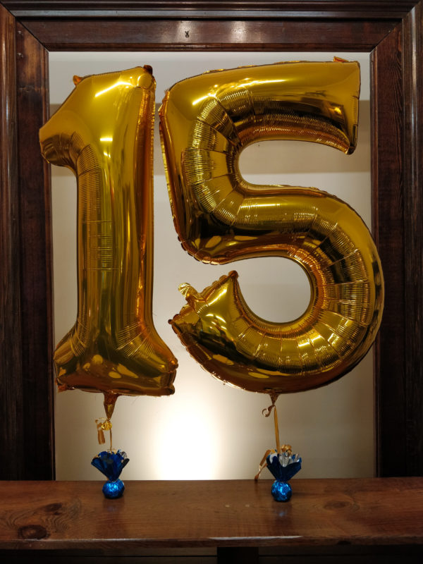 "gold number balloons ""15"""