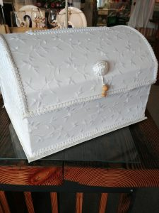 White Card Box with material wrap